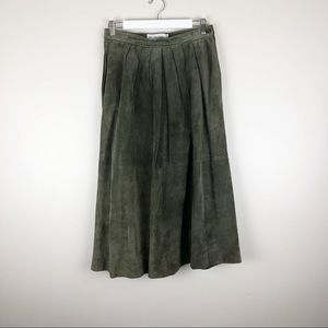 Vtg J.H. Collectibles Suede Leather Midi Skirt